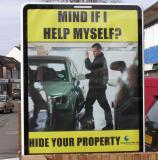 Council Community Safety team - Reducing Car Crime poster. Black copy on yellow background achieves a strong contrast