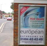 "European Bathrooms poster - recreated by Garry and displayed on a ""6 sheet"" Out and About Advertising site - from order to display within one week."