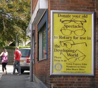 Charity poster for Rotary Spectacles collection