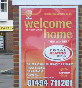 "Total Heating Services - Displayed on 4 sheet (40"" x 60"") Out and About Advertising Ltd poster site"