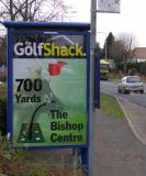 "Golf Shack - Poster designed by Garry for this Thames Valley Local Advertiser displayed as a directional sign on main ""A road"" on an Out and About Advertising Ltd site"