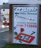 Capriccio Restaurant - One off Valentine event - 6 sheet poster designed by Garry and displayed on Out and About Advertising Ltd site